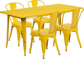 31.5'' X 63'' Rectangular Metal Indoor-Outdoor Table Set With 4 Stack Chairs Yellow Outdoor Dining
