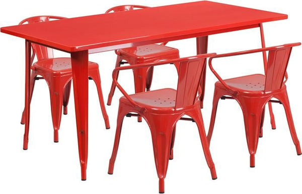 Outdoor Dining Sets - Flash Furniture 31.5'' x 63'' Rectangular Metal Indoor-Outdoor Table Set with 4 Arm Chairs | ET-CT005-4-70-RED-GG | 889142049418| $384.80. Buy it today at www.contemporaryfurniturewarehouse.com