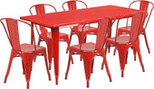 31.5'' X 63'' Rectangular Metal Indoor-Outdoor Table Set With 6 Stack Chairs Red Outdoor Dining