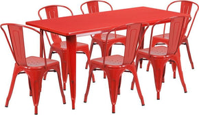 Outdoor Dining Sets - Flash Furniture ET-CT005-6-30-RED-GG 31.5'' x 63'' Rectangular Metal Indoor-Outdoor Table Set with 6 Stack Chairs | 889142049494 | Only $529.80. Buy today at http://www.contemporaryfurniturewarehouse.com