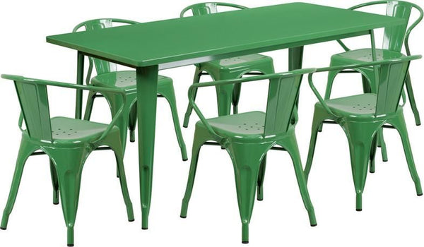 31.5'' X 63'' Rectangular Metal Indoor-Outdoor Table Set With 6 Arm Chairs Green Outdoor Dining