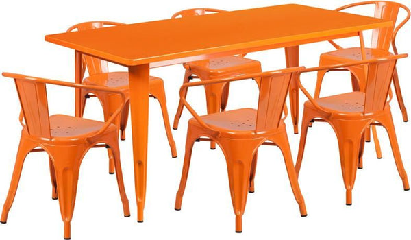 31.5'' X 63'' Rectangular Metal Indoor-Outdoor Table Set With 6 Arm Chairs Orange Outdoor Dining