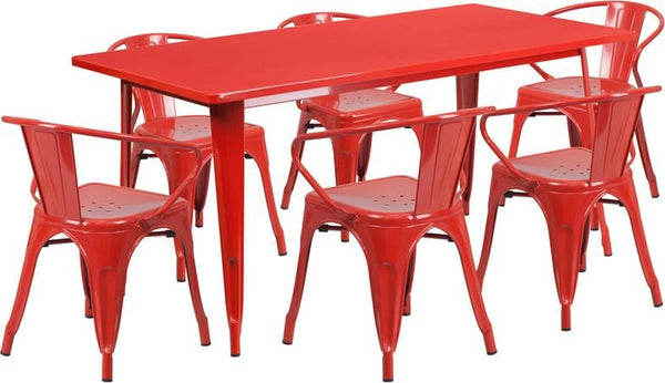 31.5'' X 63'' Rectangular Metal Indoor-Outdoor Table Set With 6 Arm Chairs Red Outdoor Dining