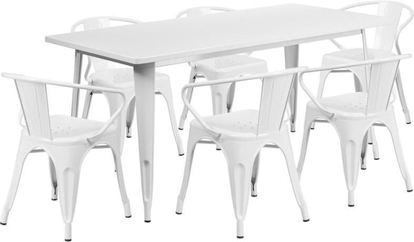 31.5'' X 63'' Rectangular Metal Indoor-Outdoor Table Set With 6 Arm Chairs White Outdoor Dining