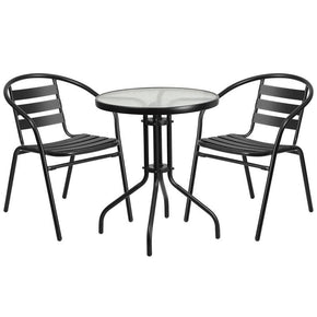 23.75u0027u0027 Round Glass Metal Table With 2 Black Aluminum Slat Stack Chairs  Outdoor Dining