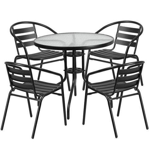 31.5'' Round Glass Metal Table With 4 Black Aluminum Slat Stack Chairs Outdoor Dining Set