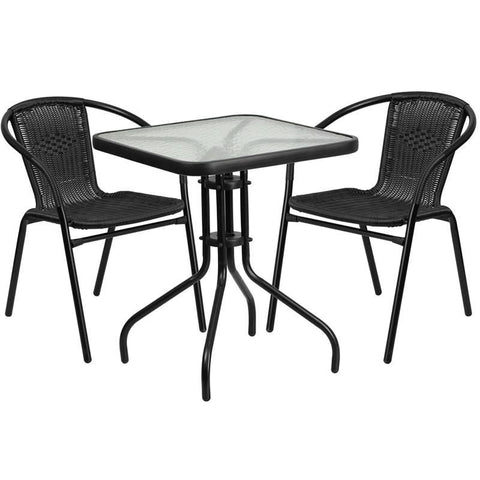 23.5'' Square Glass Metal Table With 2 Black Rattan Stack Chairs Outdoor Dining Set