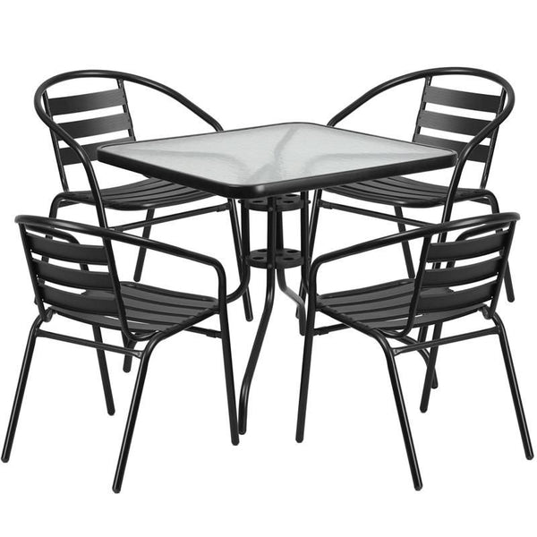 31.5'' Square Glass Metal Table With 4 Black Aluminum Slat Stack Chairs Outdoor Dining Set