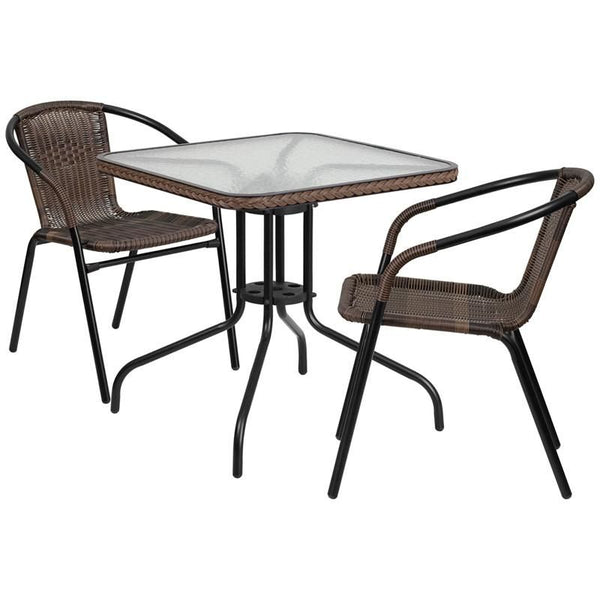 28'' Square Glass Metal Table With Rattan Edging And 2 Stack Chairs Black, Brown Outdoor Dining Set