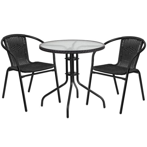 28'' Round Glass Metal Table With Rattan Edging And 2 Stack Chairs Black Outdoor Dining Set