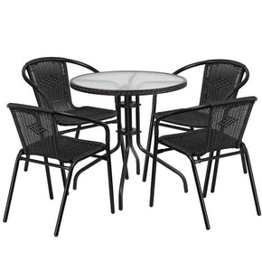 28u0027u0027 Round Glass Metal Table With Rattan Edging And 4 Stack Chairs Black  Outdoor