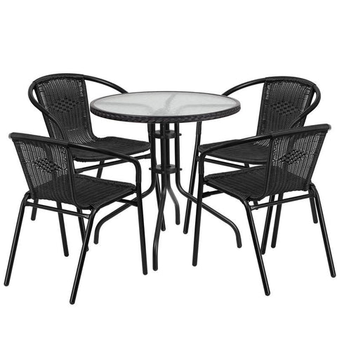 28'' Round Glass Metal Table With Rattan Edging And 4 Stack Chairs Black Outdoor Dining Set