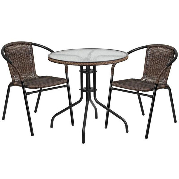 28'' Round Glass Metal Table With Rattan Edging And 2 Stack Chairs Black, Brown Outdoor Dining Set
