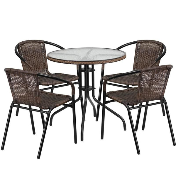 28'' Round Glass Metal Table With Rattan Edging And 4 Stack Chairs Black, Brown Outdoor Dining Set