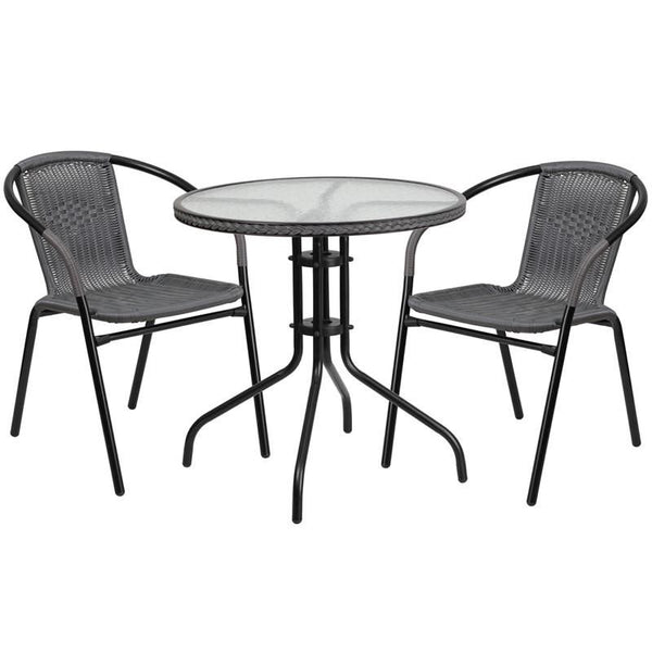 28'' Round Glass Metal Table With Rattan Edging And 2 Stack Chairs Black, Gray Outdoor Dining Set