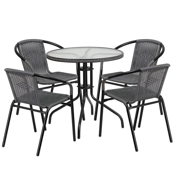 28'' Round Glass Metal Table With Rattan Edging And 4 Stack Chairs Black, Gray Outdoor Dining Set