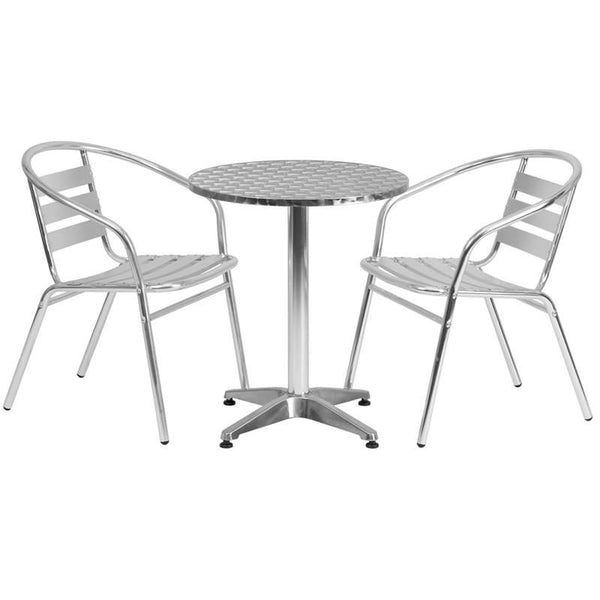 23.5'' Round Aluminum Indoor-Outdoor Table With 2 Slat Back Chairs Outdoor Dining Set