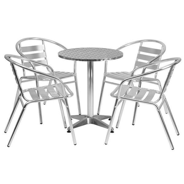 Flash Furniture 23.5'' Round Aluminum Indoor-Outdoor Table with 4 Slat Back Chairs TLH-ALUM-24RD-017BCHR4-GG | 889142012535| $224.80. Outdoor Dining Sets - . Buy today at http://www.contemporaryfurniturewarehouse.com