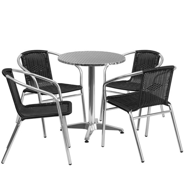 23.5'' Round Aluminum Indoor-Outdoor Table With 4 Rattan Chairs Aluminum, Black Outdoor Dining Set