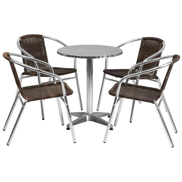 23.5'' Round Aluminum Indoor-Outdoor Table With 4 Rattan Chairs Aluminum, Brown Outdoor Dining Set
