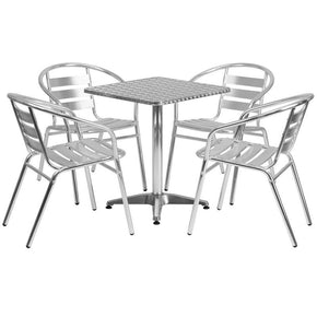 Outdoor Dining Sets - Flash Furniture TLH-ALUM-24SQ-017BCHR4-GG 23.5'' Square Aluminum Indoor-Outdoor Table with 4 Slat Back Chairs | 889142012573 | Only $229.80. Buy today at http://www.contemporaryfurniturewarehouse.com