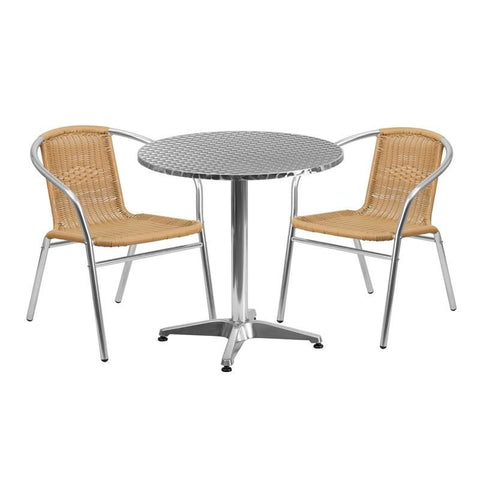 27.5'' Round Aluminum Indoor-Outdoor Table With 2 Beige Rattan Chairs Aluminum, Outdoor Dining Set