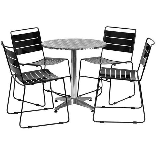 27.5'' Round Aluminum Indoor-Outdoor Table With 4 Black Metal Stack Chairs Aluminum, Outdoor Dining Set