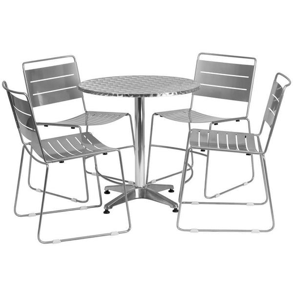 27.5'' Round Aluminum Indoor-Outdoor Table With 4 Black Metal Stack Chairs Aluminum, Silver Outdoor Dining Set