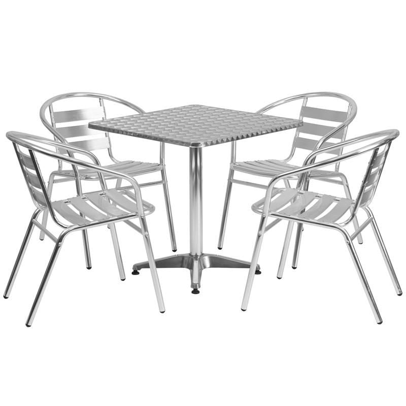 27.5u0027u0027 Square Aluminum Indoor Outdoor Table With 4 Slat Back Chairs Outdoor  Dining