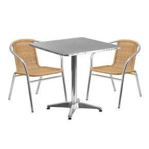 Outdoor Dining Sets - Flash Furniture TLH-ALUM-28SQ-020BGECHR2-GG 27.5'' Square Aluminum Indoor-Outdoor Table with 2 Beige Rattan Chairs | 889142060482 | Only $204.80. Buy today at http://www.contemporaryfurniturewarehouse.com