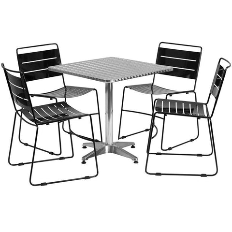27.5'' Square Aluminum Indoor-Outdoor Table With 4 Silver Metal Stack Chairs Aluminum, Black Outdoor Dining Set