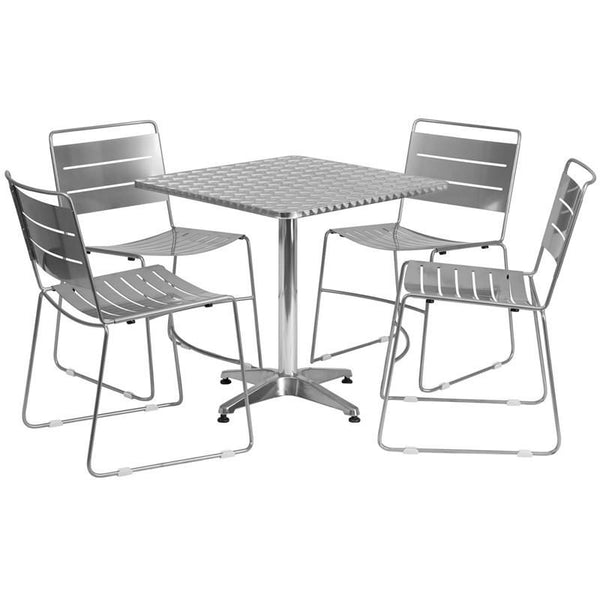 27.5'' Square Aluminum Indoor-Outdoor Table With 4 Silver Metal Stack Chairs Aluminum, Outdoor Dining Set