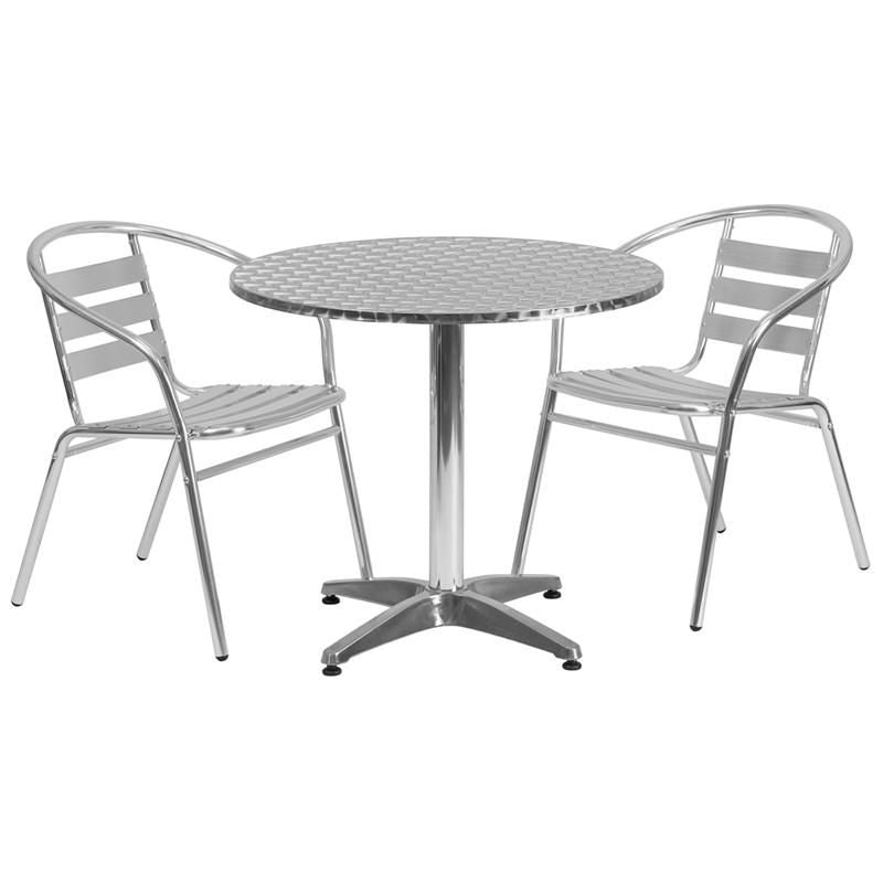 31.5'' Round Aluminum Indoor-Outdoor Table With 2 Slat Back Chairs Outdoor Dining Set