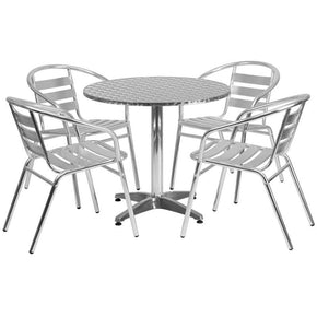 31.5'' Round Aluminum Indoor-Outdoor Table With 4 Slat Back Chairs Outdoor Dining Set