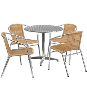 31.5'' Round Aluminum Indoor-Outdoor Table With 4 Rattan Chairs (Multiple Colors) Aluminum, Beige Outdoor Dining Set
