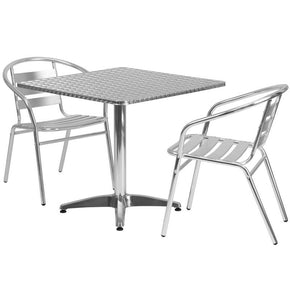 Outdoor Dining Sets - Flash Furniture TLH-ALUM-32SQ-017BCHR2-GG 31.5'' Square Aluminum Indoor-Outdoor Table with 2 Slat Back Chairs | 889142012726 | Only $219.80. Buy today at http://www.contemporaryfurniturewarehouse.com
