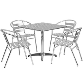 31.5'' Square Aluminum Indoor-Outdoor Table With 4 Slat Back Chairs Outdoor Dining Set