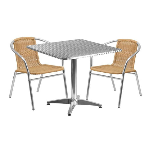 31.5'' Square Aluminum Indoor-Outdoor Table With 2 Beige Rattan Chairs Aluminum, Outdoor Dining Set