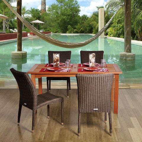 Wood & Wicker 5-Pc Dining Set Outdoor