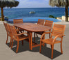 Arizona 7 Pc Eucalyptus Oval Dining Set Outdoor