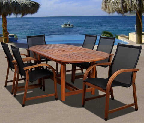 Bahamas 7 Pc Eucalyptus Oval Dining Set Outdoor