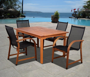 Bahamas 5 Pc Eucalyptus Rectangular Dining Set Outdoor