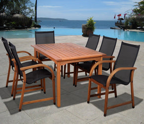 Bahamas 7 Pc Eucalyptus Rectangular Dining Set Outdoor
