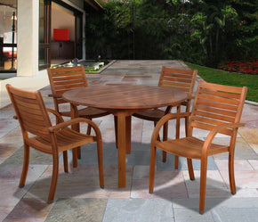 Arizona 5 Pc Eucalyptus Round Dining Set Outdoor
