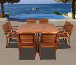 Arizona 9 Pc Eucalyptus Square Dining Set Outdoor
