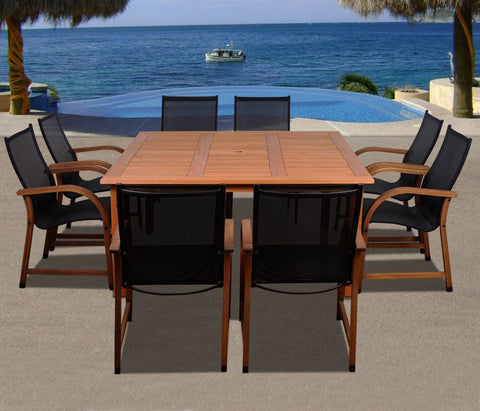 Bahamas 9 Pc Eucalyptus Square Dining Set Outdoor