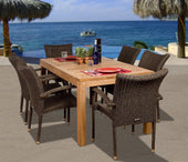 Amazonia Teak Brussels 7-Pc Teak/wicker Dining Set Outdoor
