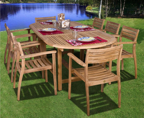 Amazonia Teak Coventry 9-Pc Dining Set Outdoor