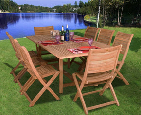 Amazonia Teak Dublin 9-Pc Dining Set Outdoor