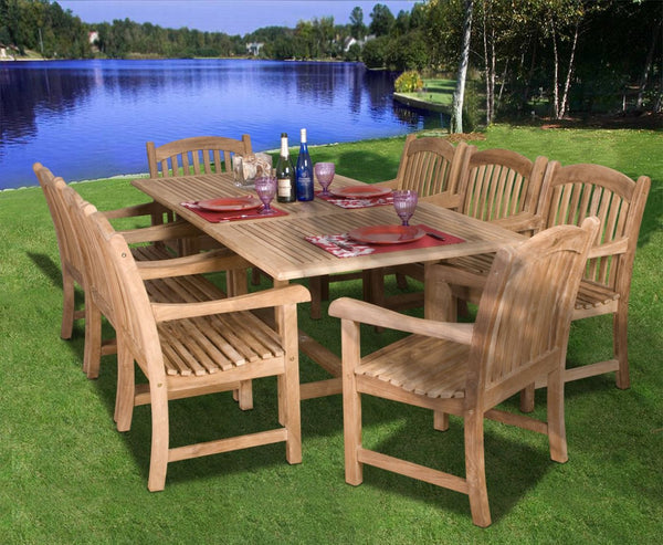 Outdoor Dining Sets - International Home Miami SC Dian_Rect/SumbawaArm Amazonia Teak Newcastle 9-pc Teak Dining Set | Only $2308.26. Buy today at http://www.contemporaryfurniturewarehouse.com
